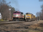 UP 7860 on the AYMO meets MBTA 1126 in Shirley, MA